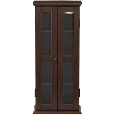 Double Doors Wood Multimedia Cabinet Color: Brown