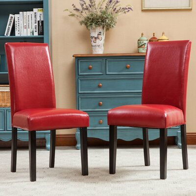 Aranson Parsons Chair Upholstery: Red