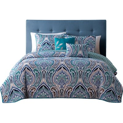 Robandy 5 Piece Quilt Set Size: Queen, Color: Blue