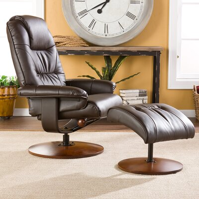 Arkin Standard Size Manual Swivel Recliner with Ottoman Upholstery: Brown