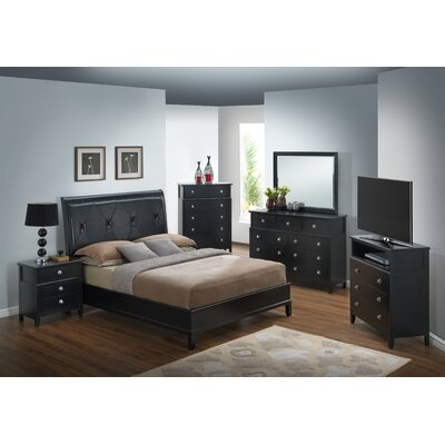 Barker Ridge Upholstered Sleigh Bed Size: King, Finish: Black