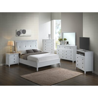 Barker Ridge Upholstered Sleigh Bed Size: Queen, Color: White