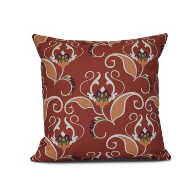 Harmen Floral Print Outdoor Throw Pillow Size: 16 H x 16 W x 3 D, Color: Orange