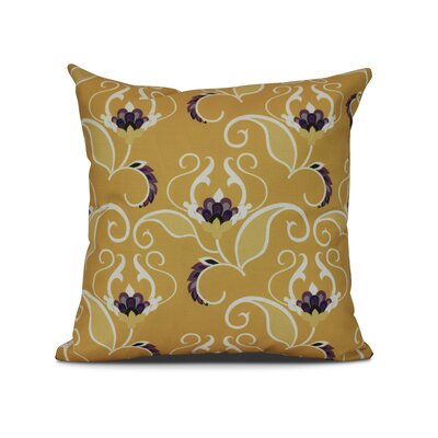 Harmen Floral Print Throw Pillow Size: 16 H x 16 W x 3 D, Color: Gold