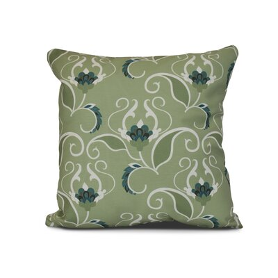 Selina West Indies Floral Print Outdoor Throw Pillow Size: 16 H x 16 W x 3 D, Color: Green