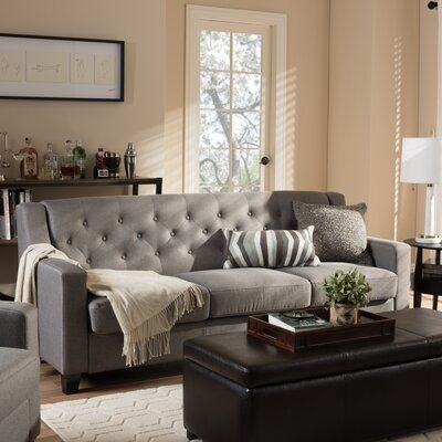 Wadsworth Modern and Contemporary Fabric Upholstered Button-Tufted Living Room 3 Seater Sofa Upholstery: Gray