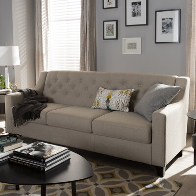 Wadsworth Modern and Contemporary Fabric Upholstered Button-Tufted Living Room 3 Seater Sofa Upholstery: Light Beige