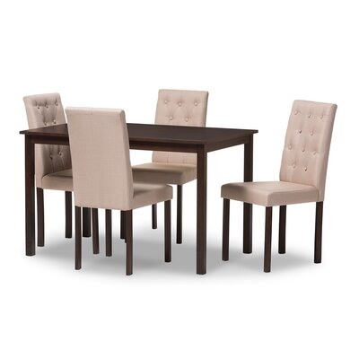 Wadsworth 5 Piece Dining Set Upholstery: Beige