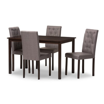 Wadsworth 5 Piece Dining Set Upholstery: Gray