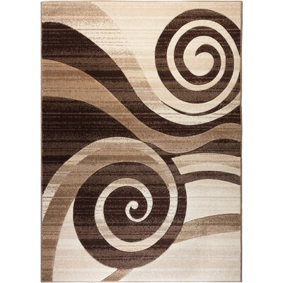 Waynesfield Whirlwind Brown Area Rug Rug Size: 53 x 73