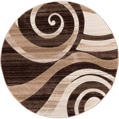 Waynesfield Whirlwind Brown Area Rug Rug Size: Round 53