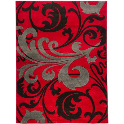 Waynesfield Fleur De Lis Red Area Rug Rug Size: Rectangle 53 x 73