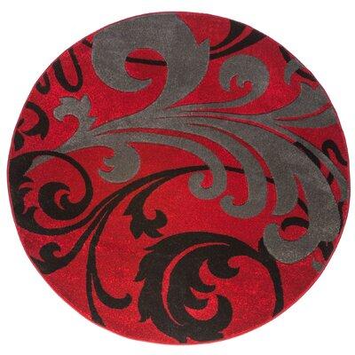 Waynesfield Fleur De Lis Red Area Rug Rug Size: Round 53