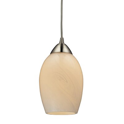 Schofield 1-Light Mini Pendant Bulb Type: Dimmable 800 Lumens 13.5W LED Bulb, Shade Color: Coconut