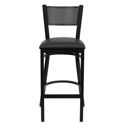 Barker Series 30.25 Bar Stool (Set of 2) Upholstery: Black Vinyl