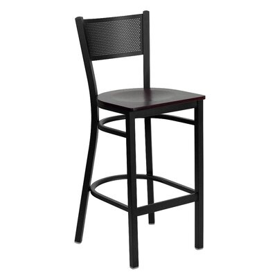 Barker Series 30.25 Bar Stool (Set of 2) Upholstery: Mahogany Wood