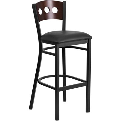 Barker 32 inch Bar Stool (Set of 2) Upholstery: Black