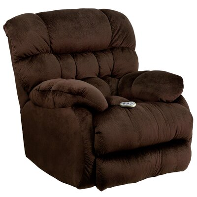 Barrington Massaging Microfiber Recliner with Heat Control Upholstery: Chocolate