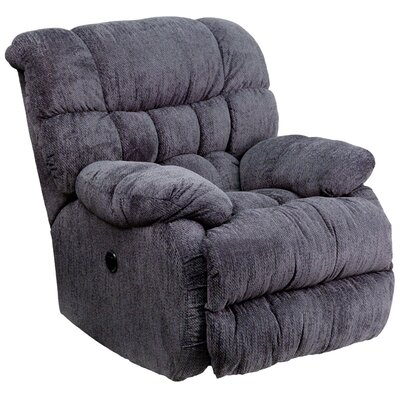 Augustus Contemporary Microfiber Power Recliner with Push Button Upholstery: Indigo Blue