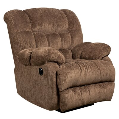 Augustus Contemporary Microfiber Power Recliner with Push Button Upholstery: Mushroom