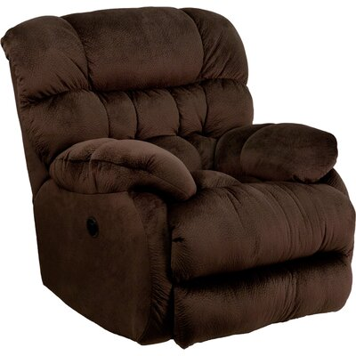 Barrington Contemporary Microfiber Power Recliner with Push Button Upholstery: Chocolate