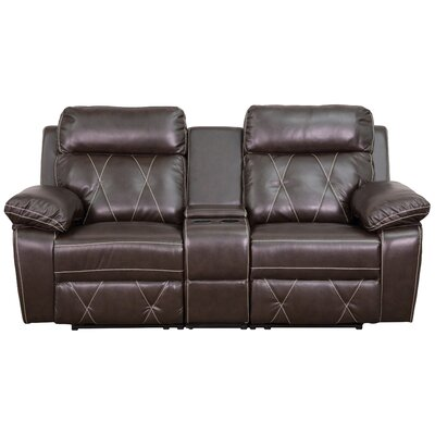 Traditional Leather Home Theater Recliner Upholstery: Brown