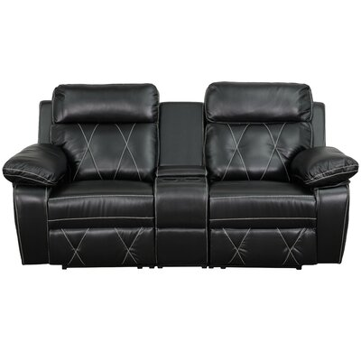 Traditional Leather Home Theater Recliner Upholstery: Black