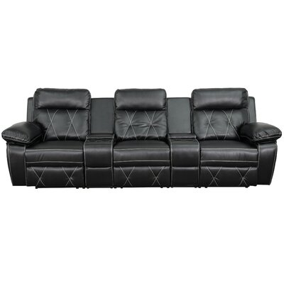 Home Theater Recliner Sectional Upholstery: Black