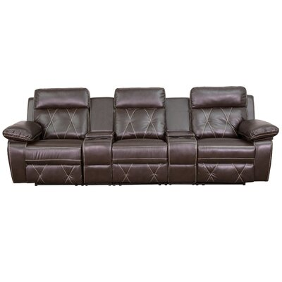 Home Theater Recliner Sectional Upholstery: Brown