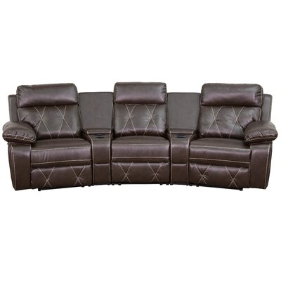 Leather Home Theater Recliner Upholstery: Brown