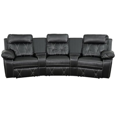 Leather Home Theater Recliner Upholstery: Black