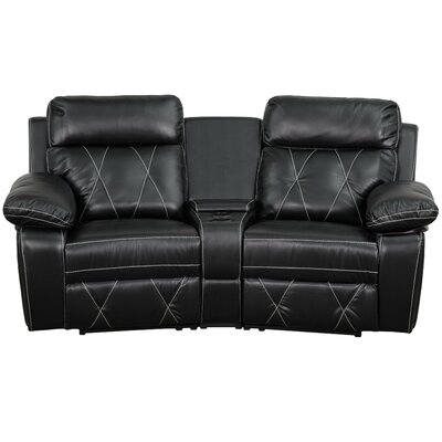 Traditional Faux Leather Home Theater Recliner Upholstery: Black
