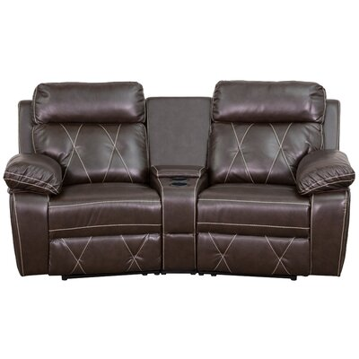 Traditional Faux Leather Home Theater Recliner Upholstery: Brown
