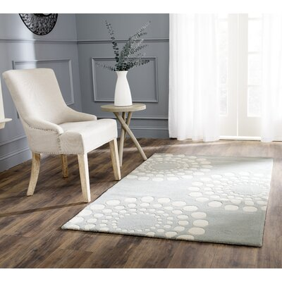 Bartlet Hand-Tufted/Hand-Hooked Gray/Ivory Area Rug Rug Size: 36 x 56