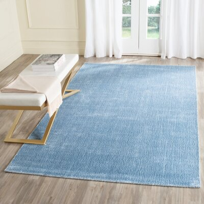 Barnabas Hand-Knotted Dream Blue Area Rug Rug Size: Rectangle 9 x 12