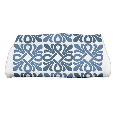 Tiki Square Geometric Print Bath Towel Color: Blue