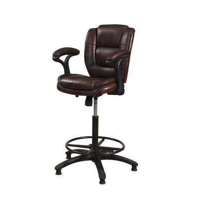 Attell Adjustable Height Swivel Bar Stool Upholstery: Brown