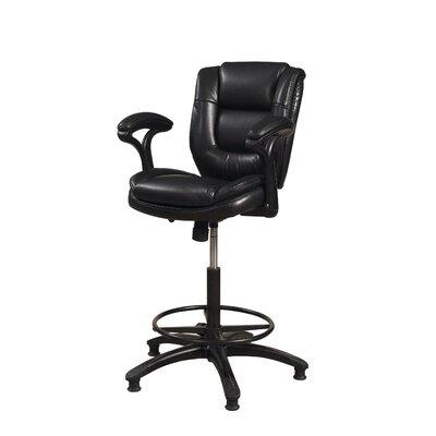 Attell Adjustable Height Swivel Bar Stool Upholstery: Black