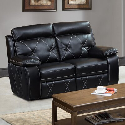 Buchanan Reclining Loveseat Upholstery: Black