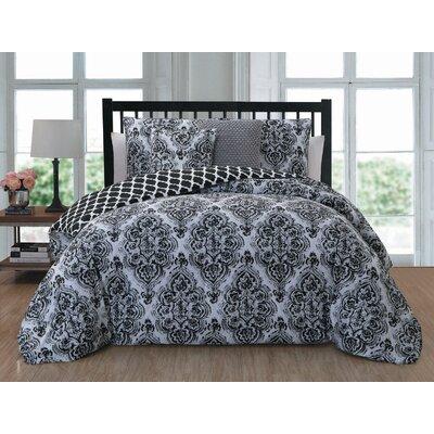 Belle Haven 5 Piece Reversible Comforter Set Size: Queen, Color: Black
