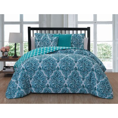 Belle Haven 5 Piece Reversible Comforter Set Size: Queen, Color: Blue
