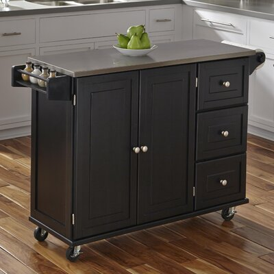 Terrell Kitchen Island with Stainless Steel Top Base Finish: Black