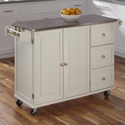 Kuhnhenn Kitchen Island with Stainless Steel Top Base Finish: White