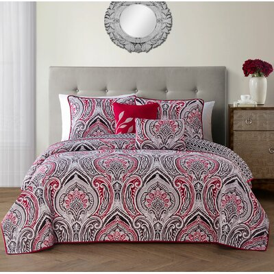 Robandy 5 Piece Quilt Set Size: King, Color: Red
