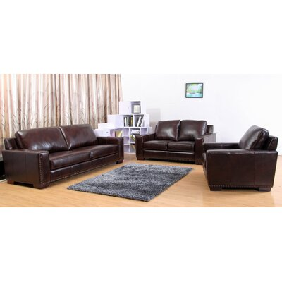 Portsmouth Leather 3 Piece Living Room Set