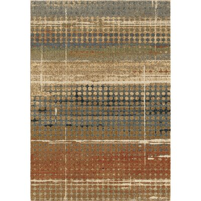 Diamondine Beige/Blue/Brown Area Rug Rug Size: 53 x 76