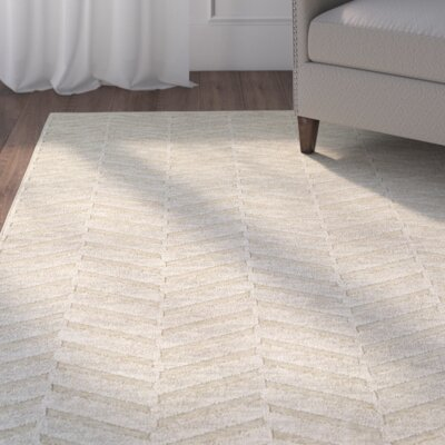 Maryport Solid Beige Area Rug Rug Size: 52 x 76