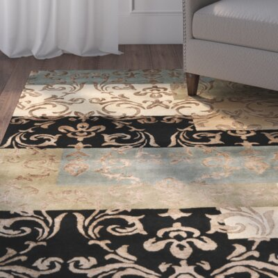 Grantfork Hand-Tufted Black/Dark Gold Area Rug