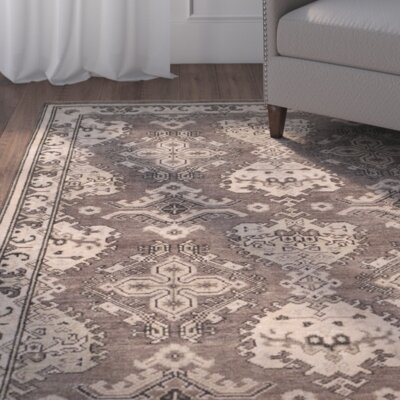 Greenview Hand-Knotted Dark Gray/Light Gray Area Rug Rug Size: 8 x 10