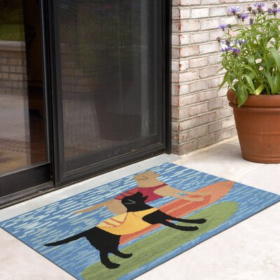 Birchview Surfboard Dogs Door Mat Mat Size: 18 x 26